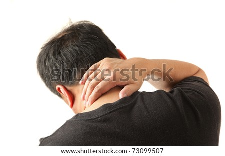 Man with neck pain - stock photo