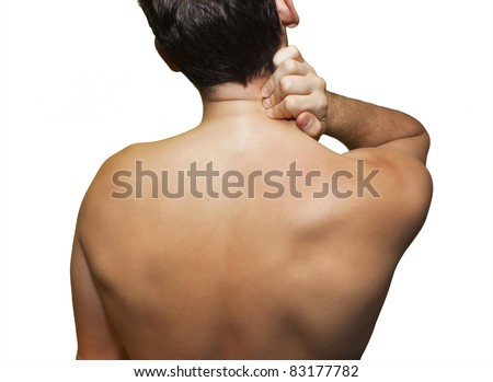 Man with neck pain isolated on white - stock photo