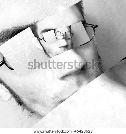 Man with never ending dream spirals into himself his delusional paradoxes into his black and white surreal universe. - stock photo