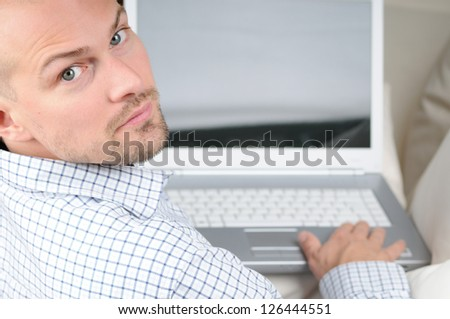 Man with Notebook - stock photo