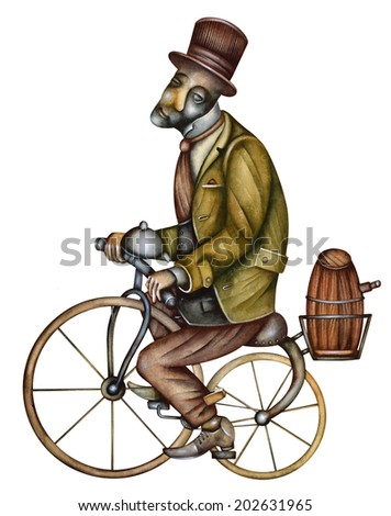 Man with old bike - stock photo