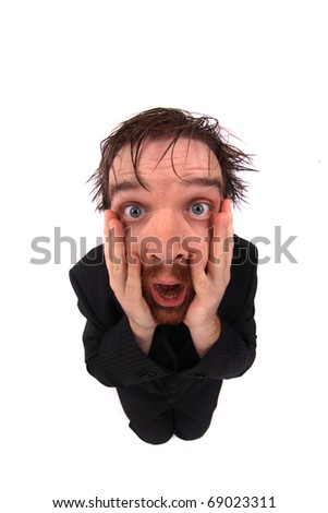 man with open mouth - stock photo