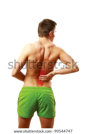 Man with pain in his back on white background