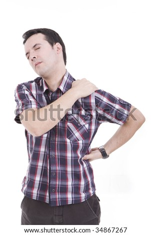 man with pain on his neck and back - stock photo