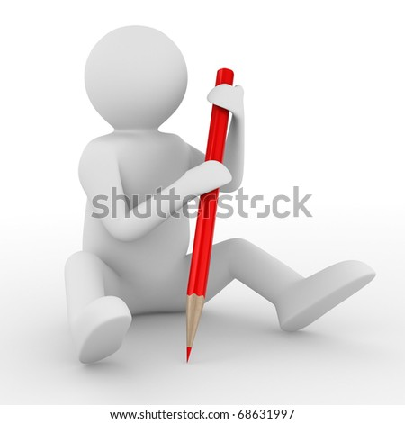 Man with pencil on white background. Isolated 3D image - stock photo
