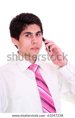 man with phone over white background