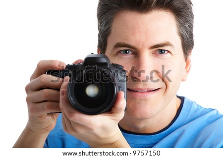Man with photo camera. Isolated over white