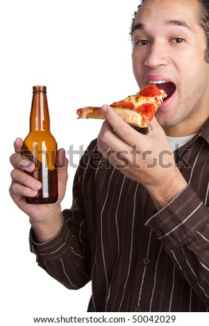 Man With Pizza and Beer - stock photo
