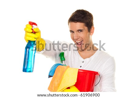 Man with polish. Cleaning the apartment. Hausmannbei apartment cleaning in the spring - stock photo