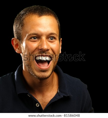 man with polo shirt on a black background