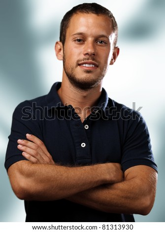 man with polo shirt on a white background - stock photo