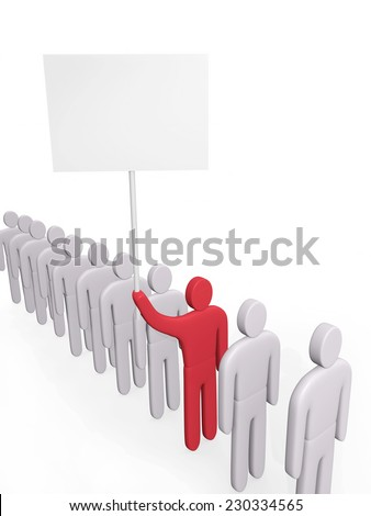 Man with poster stands in a queue of people. Concept of claim - stock photo