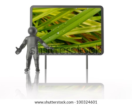 Man with presentation stand about nature, white background.