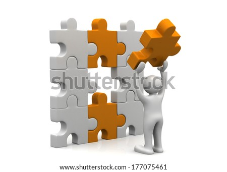 Man with puzzle. Success concept - stock photo