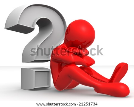 Man with question. 3d - stock photo