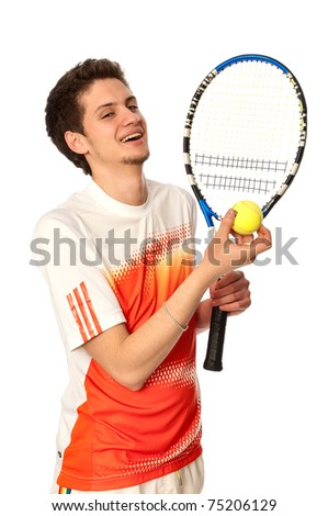 man with racket concentrated on playing tennis and preparing for the ball serving - stock photo