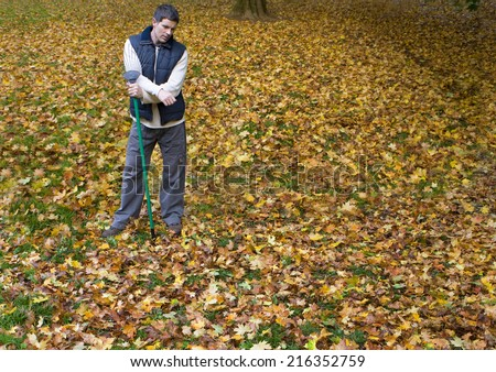 Man with rake standing in autumn leaves - stock photo
