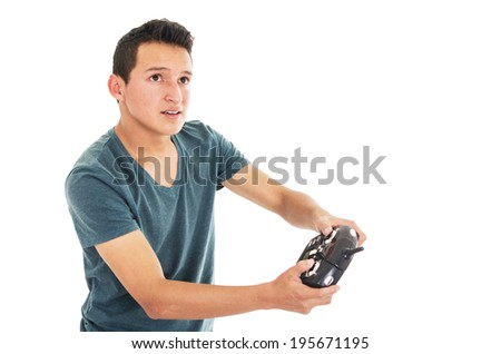 man with rc remote transmitter on a white background - stock photo