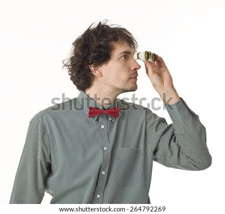 Man With Red Bow Tie Looking Through Binoculars. - stock photo