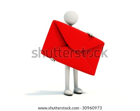 Man with red envelope isolated on white - stock photo