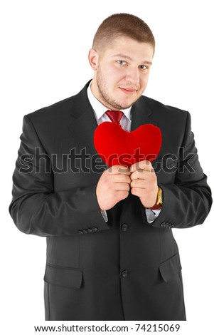 Man with red heart. Isolated over white. - stock photo