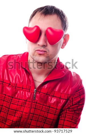 """Man with red heart-shapes instead of eyes isolated on white. Concept """"love is blind"""" - stock photo"""