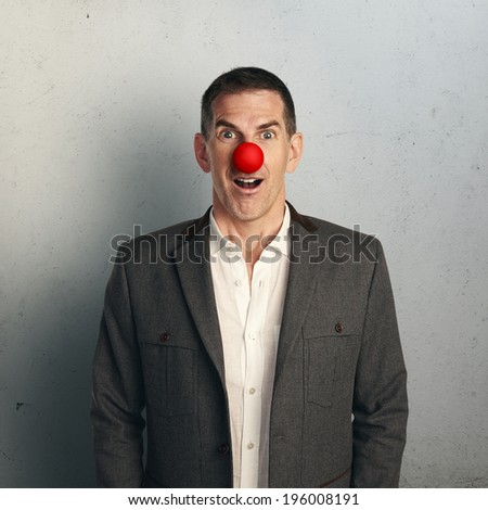 man with red nose - stock photo