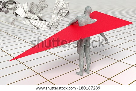 man with red wing made in 3d software - stock photo
