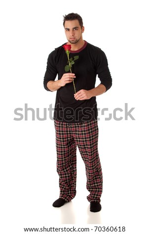 Man with Rose - stock photo