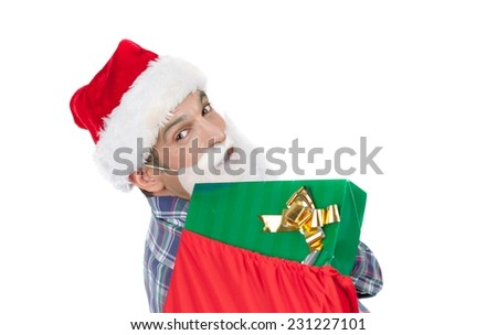 Man with Santa hat and beard taking Christmas colourful box gifts. Isolated on white background. Holiday concept. - stock photo