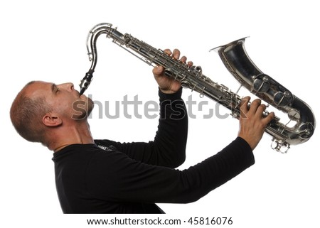 Man with saxophone on a white background - stock photo