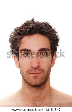 Man with serious facial expression - stock photo