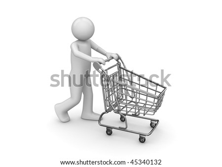 Man with shopping cart (3d isolated characters series) - stock photo