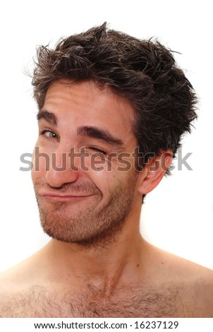 Man with silly facial expression - stock photo