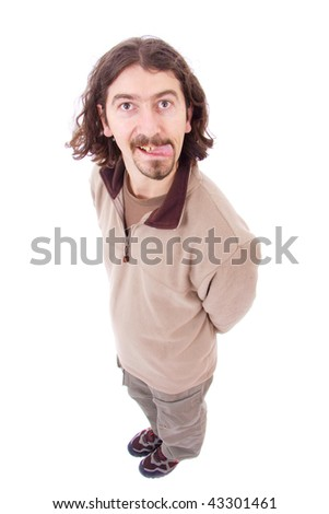 Man with silly facial expression isolated on white - stock photo