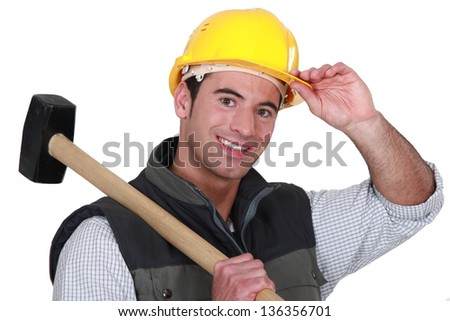Man with sledge-hammer - stock photo