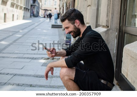 Man with smartphone - stock photo