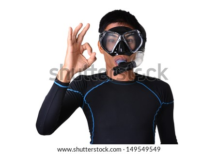 man with snorkeling equipment isolated on white background