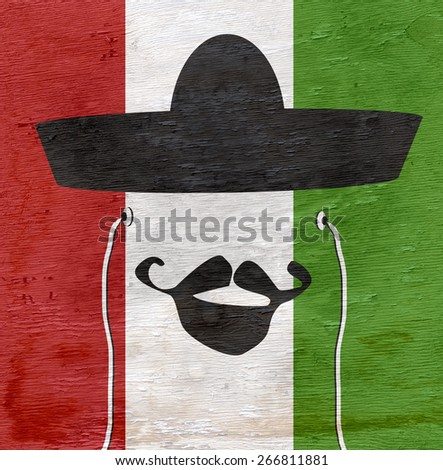 man with sombrero and mexican flag on wood grain texture - stock photo