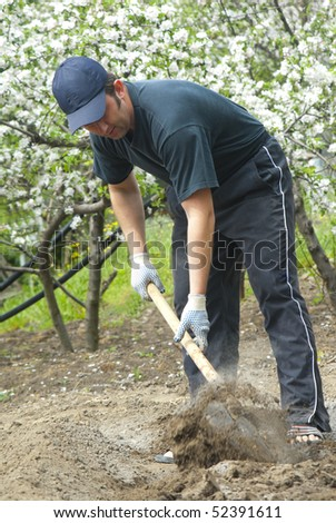 Man with spade in vegetable patch - stock photo