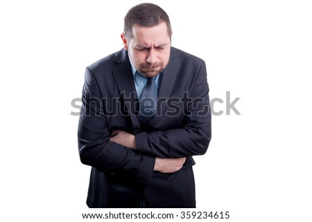 Man with stomach pain - stock photo