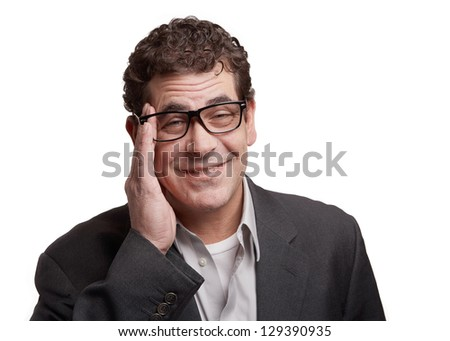 Man with stress headache isolated on white background - stock photo