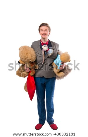 Man with stuffed animal