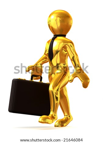 Man with suitcase. 3d