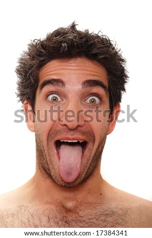 Man with surprised facial expression - stock photo