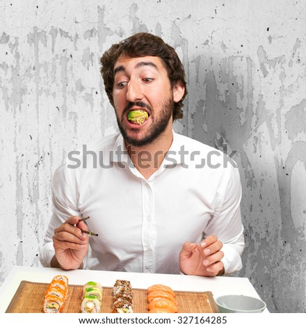 man with sushi