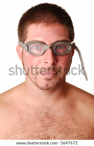 man with swimming goggles over white background