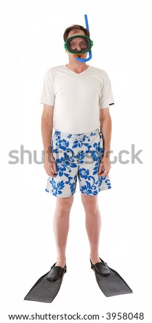 Man with swimming mask, snorkel and fins isolated on white background - stock photo
