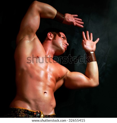 Man with the bared torso in a loincloth