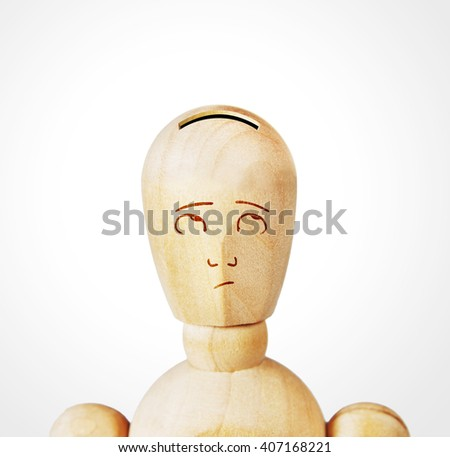 Man with the head as a money box. Abstract image with a wooden puppet - stock photo